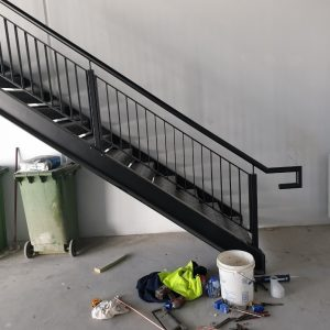 Warehouse Stair - Steel Stringers with Chequer Plate Treads and Landing
